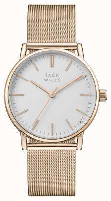 Jack Wills Женская ягода белого циферблата розового золота pvd сетчатый браслет JW013RSRS