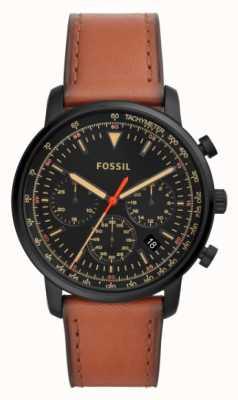 Fossil Мужская хронограф коричневая кожа из нержавеющей стали черный циферблат FS5501