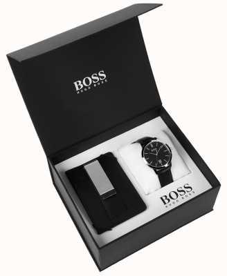 Hugo Boss Мужская коробка набор денег клип классический черный циферблат черный кожа 1570065