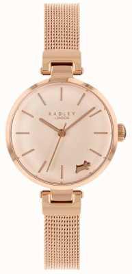 Radley Женские часы с розовым золотым чехлом из сетчатого браслета RY4360