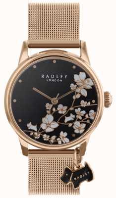 Radley Женские часы задние цветок сетки ремешок черный циферблат RY4346