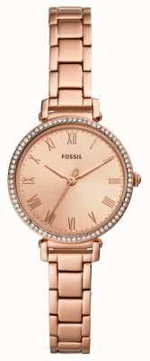 Fossil | женская | Кинси | хрустальный набор | часы с розовым золотом | ES4447