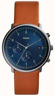 Fossil Мужские часы погони коричневый кожаный ремешок синий циферблат FS5486