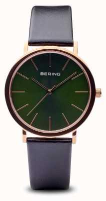 Bering Классический | полированный розовое золото черный ремешок 13436-469