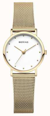 Bering Женские классические часы с золотой сеткой 13426-334