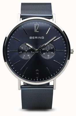 Bering Классический | полированное серебро | день дата синий 14240-303