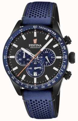 Festina Мужской хронограф черный циферблат синий кожаный ремешок F20359/2