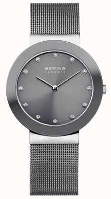 Bering Серый керамический сетчатый браслет серый циферблат 11435-389