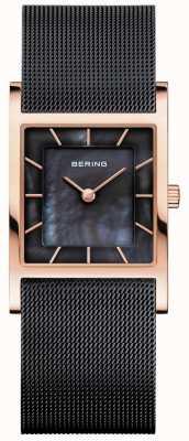 Bering Женский черный сетчатый браслет с перламутровым циферблатом 10426-166-S