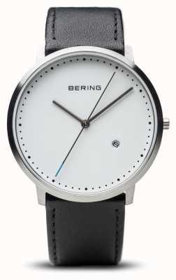 Bering Унисекс белый циферблат черный кожаный ремешок 11139-404