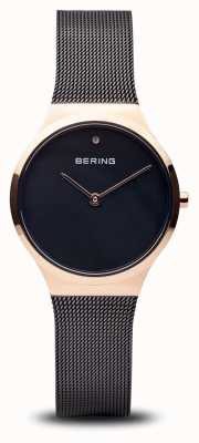 Bering Классический | полированное черное розовое золото, черное лицо 12131-166