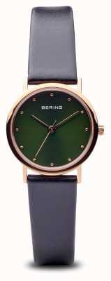 Bering Классический | полированный розовое золото черный ремешок зеленый циферблат 13426-469