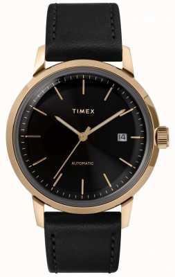 Timex Мужской автоматический черный кожаный ремешок черный циферблат TW2T22800