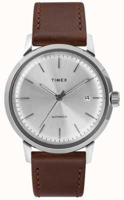 Timex Мужской автоматический коричневый кожаный ремешок серебристый циферблат TW2T22700