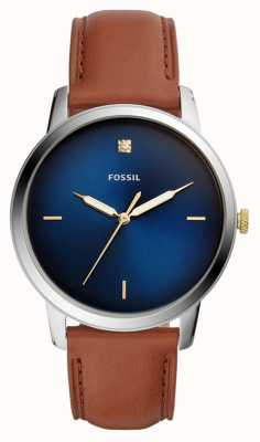 Fossil Мужские минималистские часы коричневый кожаный ремешок синий циферблат FS5499