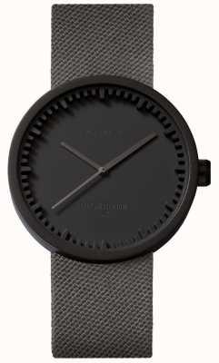 Leff Amsterdam Трубчатые часы d38 | кордура матовый черный | серый ремешок LT71015