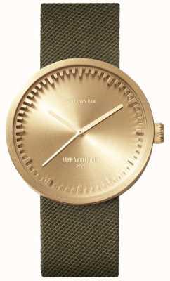 Leff Amsterdam Трубчатые часы d38 | пудра латунь | зеленый ремешок LT71024