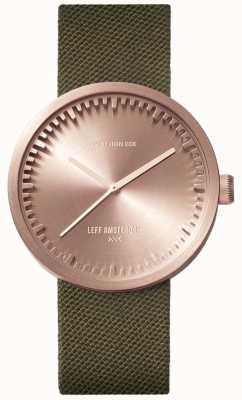 Leff Amsterdam Трубчатые часы d38 | пурпурное розовое золото | зеленый ремешок LT71034