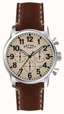 Rotary Мужской хронограф кварцевый кожаный ремешок белый циферблат GS00430/31