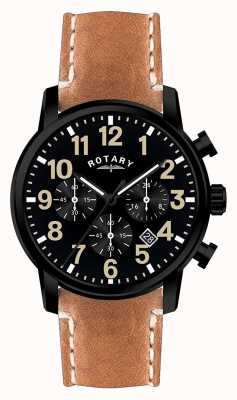 Rotary Мужской хронограф кварцевый кожаный ремешок черный циферблат GS00433/04