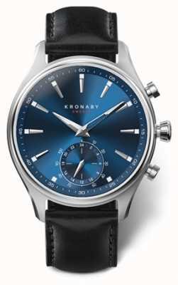 Kronaby 41мм секел синий циферблат черный кожаный ремешок a1000-3758 S3758/1