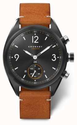 Kronaby Mens apex 41 bluetooth черный циферблат, коричневая кожа A1000-3116