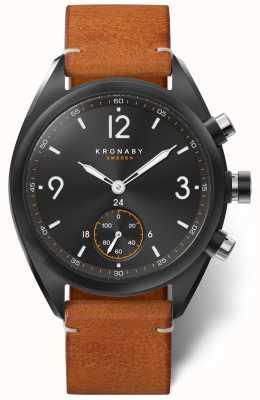 Kronaby Мужская Apex 41 Bluetooth черный циферблат, коричневая кожа a1000-3116 S3116/1