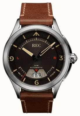 REC Spitfire автоматический коричневый кожаный ремешок RJM-02