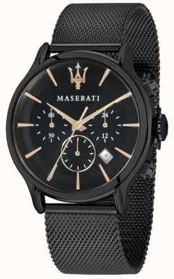 Maserati Мужская эпока 42мм | черный циферблат | черный сетчатый браслет R8873618006