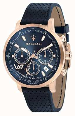 Maserati Мужская GT 44 мм | солнечная | футляр из розового золота | синий циферблат | натуральная кожа R8871134003
