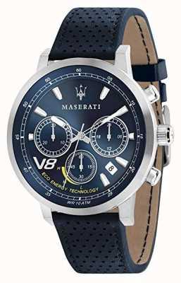 Maserati Мужская GT 44 мм | солнечный | серебряный корпус | синий циферблат | синяя кожа R8871134002