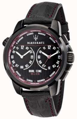Maserati Мужские преемники 44мм | черный циферблат | черный кожаный ремешок R8851121002