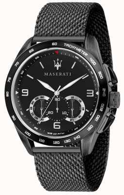Maserati Мужская трагуардо 45мм | черный циферблат | черный сетчатый браслет R8873612031