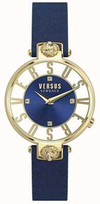 Versus Versace Женские kirstenhof | синий / белый циферблат | синий кожаный ремешок VSP490218