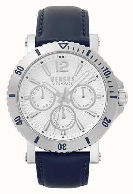 Versus Versace Муж Стенберг | серебряный циферблат | синий кожаный ремешок VSP520118