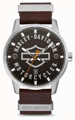 Harley Davidson Мужской коричневый кожаный ремешок с фирменным циферблатом hd 76B178