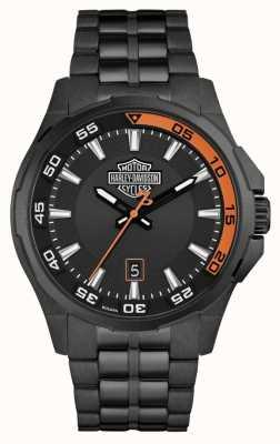 Harley Davidson Мужская панель приборов | черный циферблат | черный браслет из нержавеющей стали 78B141
