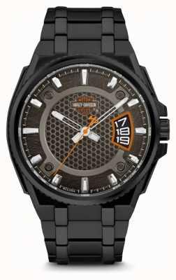 Harley Davidson Мужчины для него | черный циферблат | черный браслет из нержавеющей стали 78B151