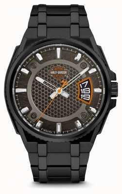 Harley Davidson Мужские для него | черный циферблат | черный браслет из нержавеющей стали 78B151