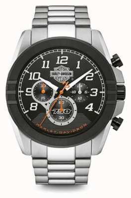 Harley Davidson Мужские хронографы | черный циферблат | двухтональная нержавеющая сталь 76B175
