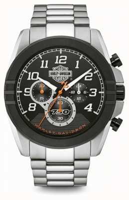 Harley Davidson Мужской хронограф | черный циферблат | двухцветная нержавеющая сталь 76B175
