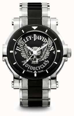 Harley Davidson Мужские два тона браслет из нержавеющей стали | черный набор 78A109