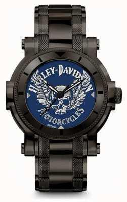 Harley Davidson Мужчины для него | черный браслет из нержавеющей стали | синий 78A117