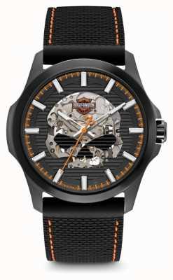 Harley Davidson Мужские воли г черепа | черный циферблат | черный силиконовый ремешок 78A118