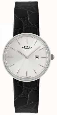 Rotary Мужской черный кожаный ремешок | серебристый набор GS21226/06