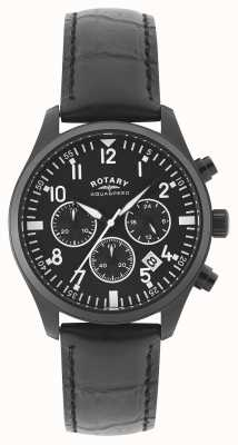 Rotary Мужские хронографы | черный кожаный ремешок | черный набор GS00110/04