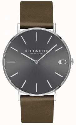 Coach Мужская Чарльз | коричневый кожаный ремешок | серый циферблат 14602153