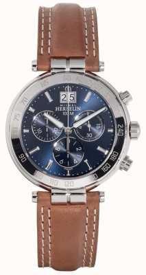 Michel Herbelin Мужские ньюпорт коричневый кожаный ремешок синий циферблат 36654/AP15GO