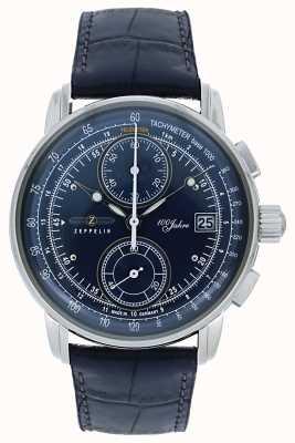 Zeppelin | серия 100 лет | дата хронографа | синяя кожа | 8670-3
