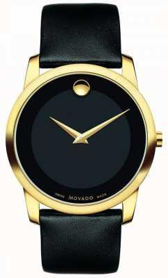 Movado | мужской музей классические часы | черная кожа | 0606876